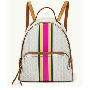 Fossil Felicity Backpack Pink White Stripe